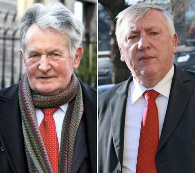 Quizzed: Retired gardai Noel Smith (left) and Michael Kelleher (right) appeared in court