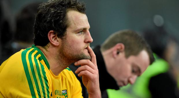 Donegal's Michael Murphy sits on the bench after being shown a black card late in the game. Allianz Football League, Division 1, Round 2, Dublin v Donegal. Croke Park, Dublin. Picture credit: Ramsey Cardy / SPORTSFILE