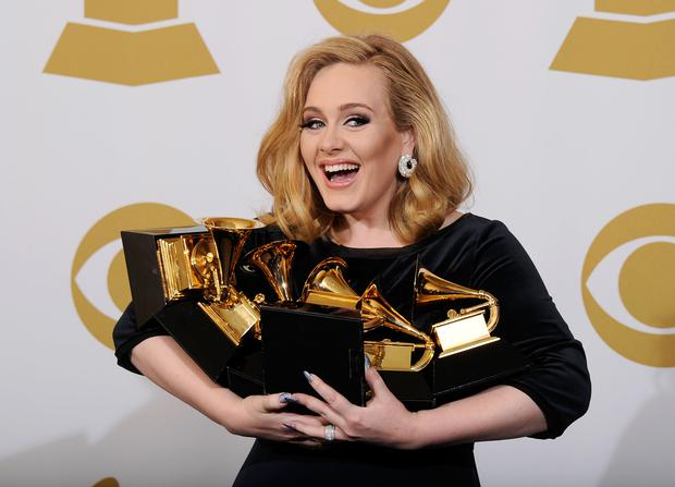 Singer Adele, winner of six GRAMMYs, poses in the press room at the 54th Annual GRAMMY Awards at Staples Center on February 12, 2012 in Los Angeles, California. (Photo by Kevork Djansezian/Getty Images)