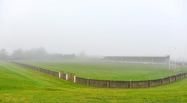 8 February 2015; A view of the fog covering the Gaelic Grounds. Allianz Football League, Division 3, Round 2, Louth v Clare, Gaelic Grounds, Drogheda, Co. Louth. Picture credit: Pat Murphy / SPORTSFILE