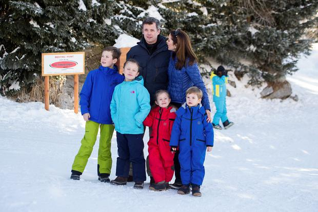 Prince Christian of Denmark, Princess Isabella of Denmark, Crown Prince Frederik of Denmark, Princess Josephine of Denmark, Princess Mary of Denmark and Prince Vincent of Denmark, pose as the Danish Royal family hold their annual skiing photocall