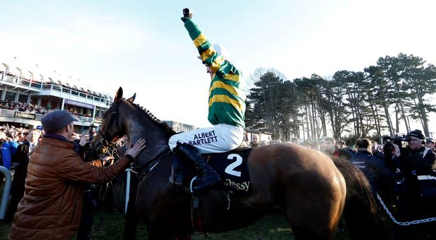 Tony McCoy riding Carlingford Lough return after winning The Hennessey Gold Cup at Leopardstown