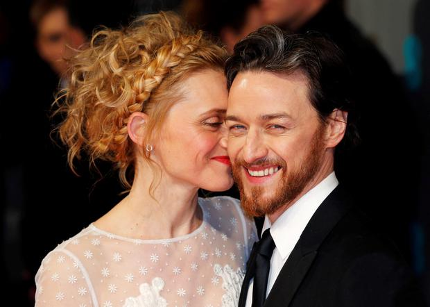 Actor James McAvoy and his wife actress Anne-Marie Duff arrive at the British Academy of Film and Arts (BAFTA) awards ceremony at the Royal Opera House in London February 8, 2015. REUTERS/Suzanne Plunkett