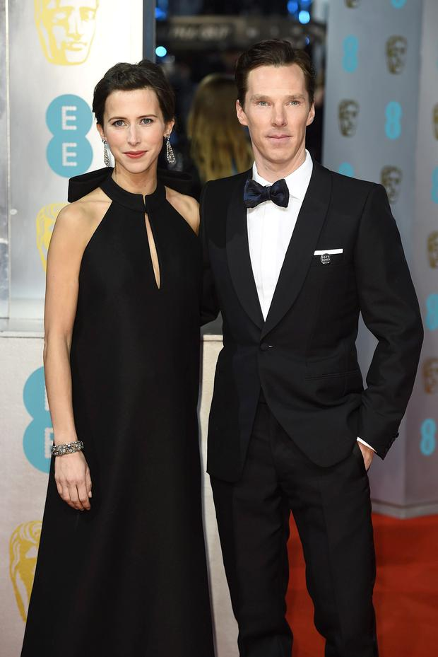 Benedict Cumberbatch and Sophie Hunter arriving at The EE British Academy Film Awards 2015, at the Royal Opera House, Bow Street, London.