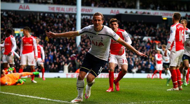 Harry Kane celebrates his winning goal for Tottenham against Arsenal. Photo: Clive Rose/Getty Images