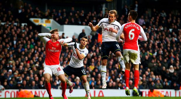 Harry Kane heads in Tottenham Hotspur's winning goal late on in their Premier League clash with Arsenal at White Hart Lane. Photo: Clive Rose/Getty Images