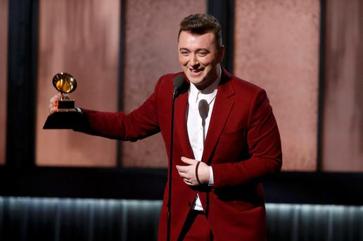 Sam Smith accepts the award for best new artist at the 57th annual Grammy Awards in Los Angeles, California February 8, 2015. REUTERS/Lucy Nicholson (UNITED STATES - Tags: ENTERTAINMENT) (GRAMMYS-SHOW)