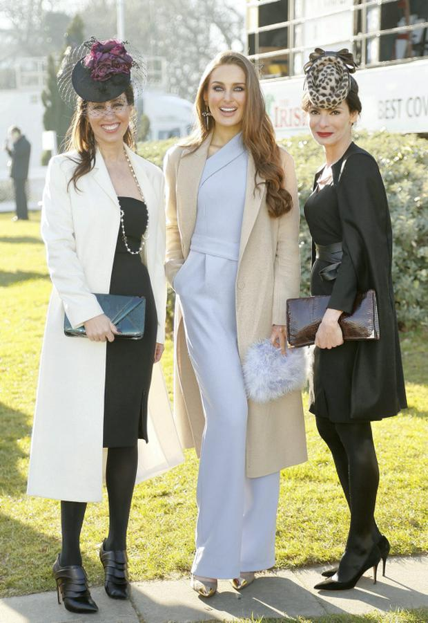 Ashling Kilduff from Design Centre, Roz Purcell and Caroline Sleiman from Moët Hennessy at the Hennessy Gold Cup in Leopardstown