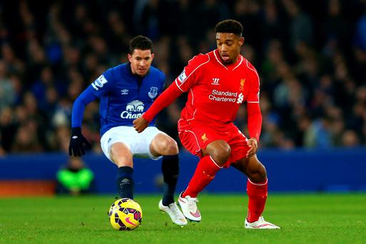 Jordon Ibe of Liverpool controls the ball