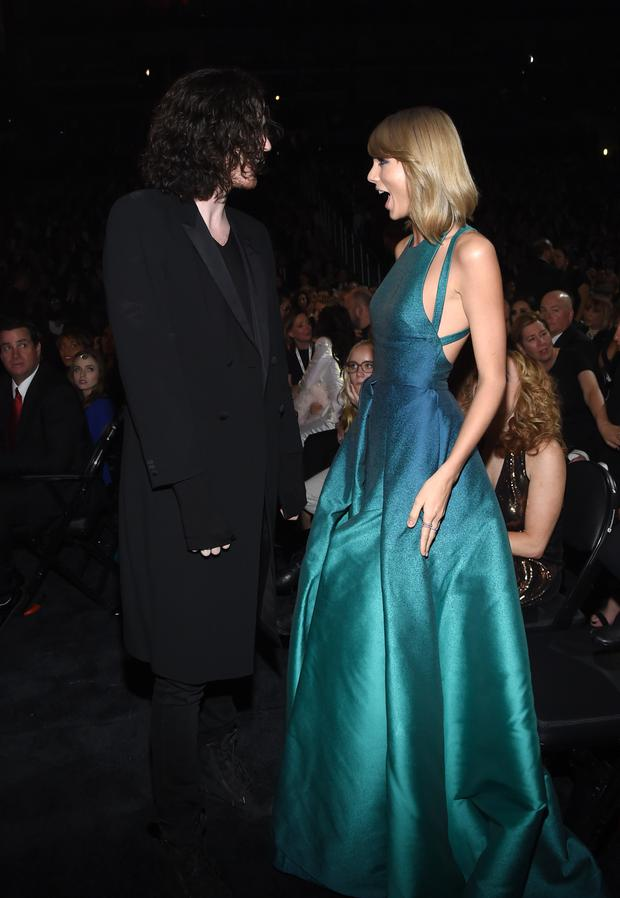 Recording Artists Hozier and Taylor Swift attend The 57th Annual GRAMMY Awards at the STAPLES Center