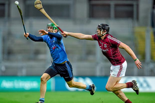 7 February 2015; Shane Stapleton, Dublin, in action against Joseph Cooney, Galway. Bord na Mona Walsh Cup Final, Dublin v Galway. Croke Park, Dublin. Picture credit: Ramsey Cardy / SPORTSFILE