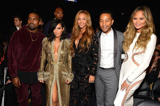 LOS ANGELES, CA - FEBRUARY 08: (L-R) Kanye West, Kim Kardashian, Beyonce, John Legend and Chrissy Teigen onstage during The 57th Annual GRAMMY Awards at the STAPLES Center on February 8, 2015 in Los Angeles, California. (Photo by Lester Cohen/WireImage)