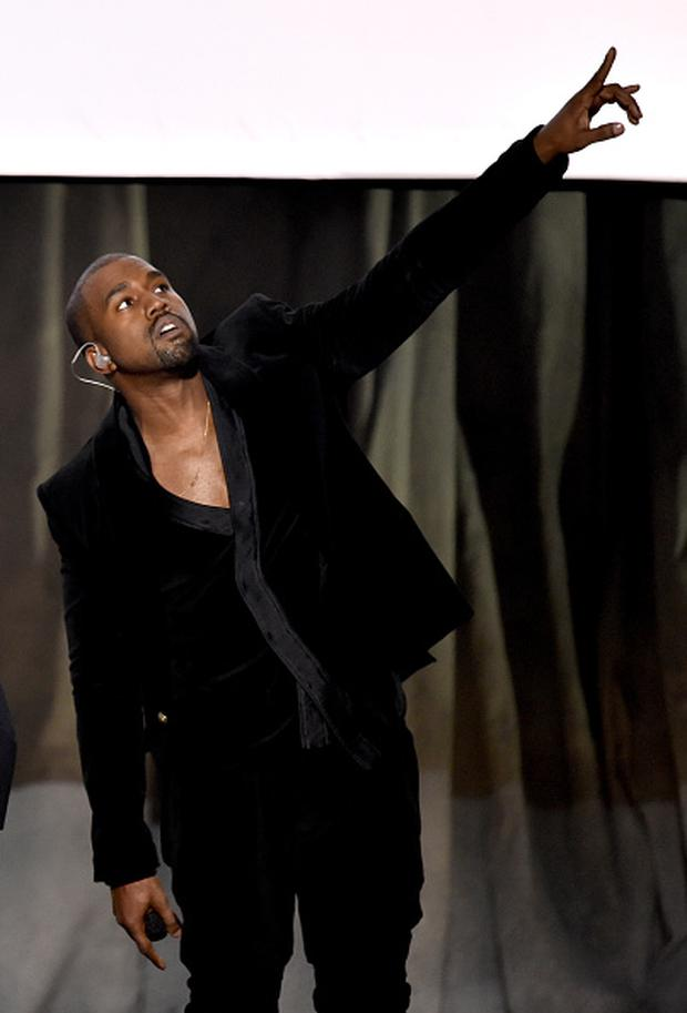 LOS ANGELES, CA - FEBRUARY 08: Recording artist Kanye West performs onstage during The 57th Annual GRAMMY Awards at the STAPLES Center on February 8, 2015 in Los Angeles, California. (Photo by Kevin Winter/WireImage)