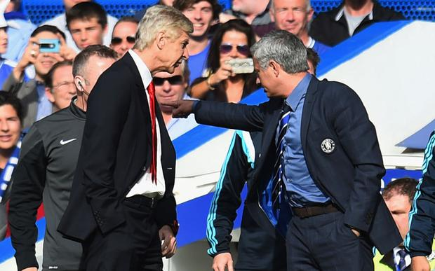 Arsene Wenger and Jose Mourinho get feisty during Chelsea's 2-0 win over Arsenal at Stamford Bridge in October 2014Picture: Shaun Botterill/Getty Images