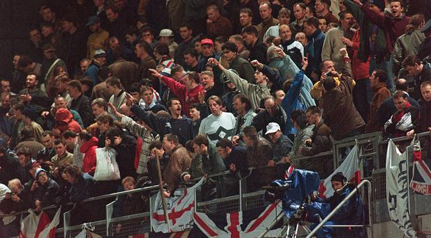 England fans in the Upper West Stand which forced the abandonment of the game in 1995