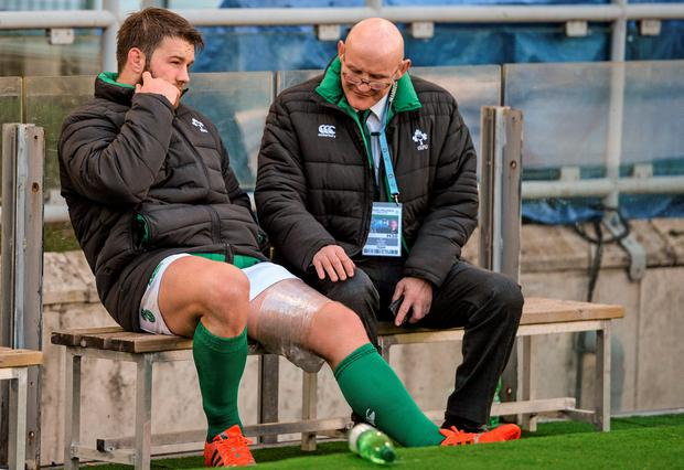Ireland's Sean O'Brien, who picked up an injury during the warmup, on the bench with team doctor Dr Jim McShane