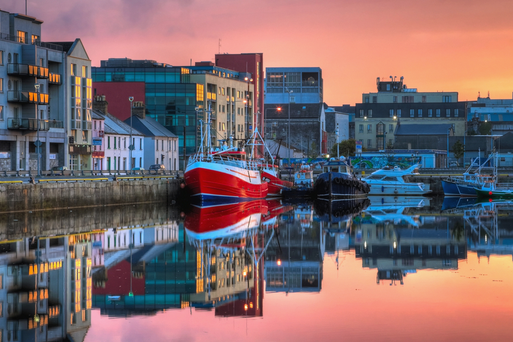 Morning view of Galway's docks.