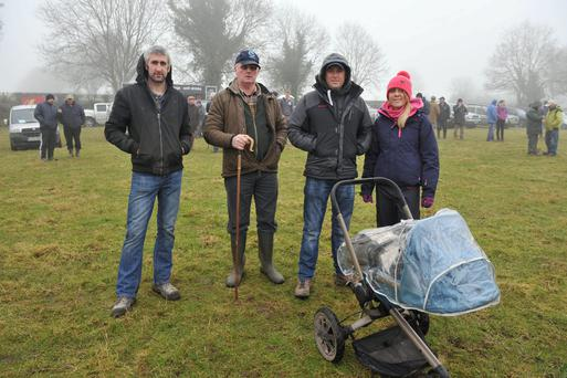 John Cremin from Kerry, Tony Kearins from Sligo, Kevin Evans from Wales and Sophie Holt from Wales were among those who travelled home disappointed after the All Ireland Sheep Dog Trials at Dunroe, Co Carlow last Sunday were cancelled due to heavy fog. The trials have been rescheduled for February 22. Photo: Roger Jones