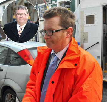 Gary O'Flynn arriving at court and (inset) his father, former Fianna Fáil TD, Noel O'Flynn
