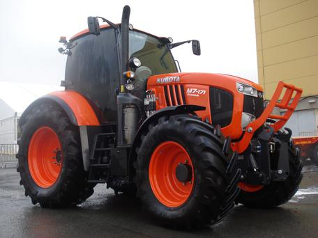 VROOM: One of the most eagerly awaited new tractors at the Farm Machinery Show came in the form of Japanese manufacturer Kubota's bold venture into contractor territory with its powerful M7 series. Pictured is the flagship model of the series, the 170hp rated M7-171.