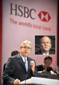 Former HSBC chief executive Michael Geoghegan and, inset, Finance Minister Michael Noonan.