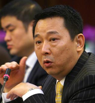 Liu Han, former chairman of Hanlong Mining, speaks during a conference in Mianyang, Sichuan province, in this March 21, 2008 file photo. Chinese authorities on February 9, 2015 executed the former mining tycoon connected to the eldest son of retired domestic security chief Zhou Yongkang, himself the focus of a high-profile corruption investigation, state media reported. The High People's Court in the central province of Hubei ordered the execution of Liu Han, the former chairman of unlisted Hanlong Group, who was given the death sentence last May, the official Xinhua news agency said. REUTERS/Stringer/Files (CHINA - Tags: CRIME LAW POLITICS BUSINESS HEADSHOT) CHINA OUT. NO COMMERCIAL OR EDITORIAL SALES IN CHINA