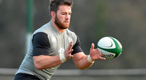 Ireland remain hopeful that Sean O'Brien could train today after the hamstring strain he suffered was diagnosed as being on the mild end of the spectrum. Photo: Matt Browne / SPORTSFILE