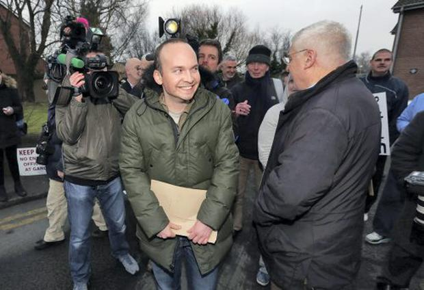 09/02/15 Joe Higgins and Paul Murphy TD pictured leaving Terenure Garda Station this evening after he was arrested early this morning and questioned about a protest in which Tainaiste Joan Burton was blocaded in her car...Picture Colin Keegan, Collins Dublin.
