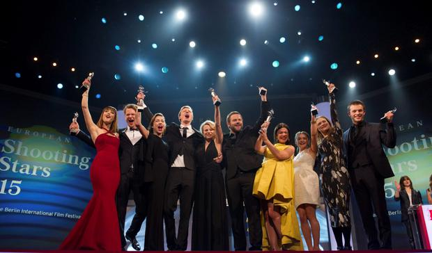 (L-R) Actors Natalia de Molina of Spain, Sven Schelker of Switzerland, Aiste Dirziute of Lithuania, Joachim Fjelstrup of Denmark, Emmi Parviainen of Finland, Moe Dunford of Ireland, Abbey Hoes of Netherlands, Maisie Williams of Britain, Hera Hilmer of Iceland and Jannis Niewoehner of Germany, winners of the Shooting Stars Award