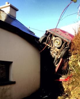 The crashed van at the Butler home near Gortahork, Co Donegal.
