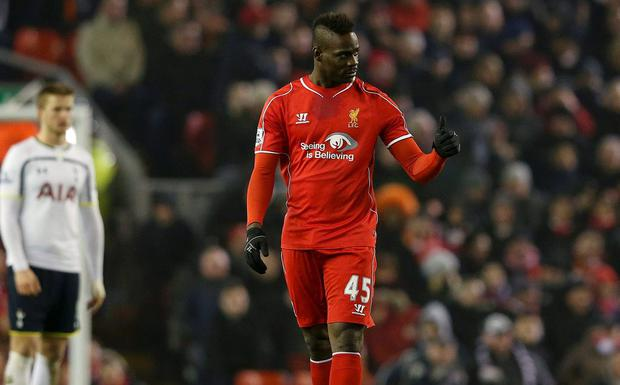 Liverpool's Mario Balotelli gestures after scoring what turned out to be the winner against Tottenham Hotspur.