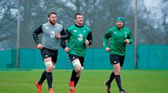 Sean O'Brien, Peter O'Mahony and Rory Best train together during the Ireland squad's session at Carton House. Photo: Brendan Moran / SPORTSFILE