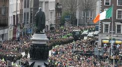 Crowds watching the 90th anniversary commemoration of the 1916 Rising in O'Connell Street, Dublin in 2006.