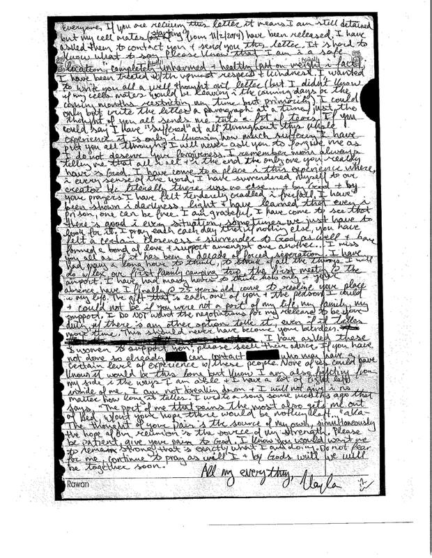 A letter from Kayla Mueller, 26, an American humanitarian worker from Prescott, Arizona is pictured in this undated handout photo obtained by Reuters February 6, 2015. . Reuters/Mueller Family/Handout via Reuters