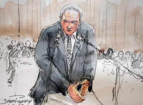 Dominique Strauss-Kahn, in an artist's impression in court in Lille