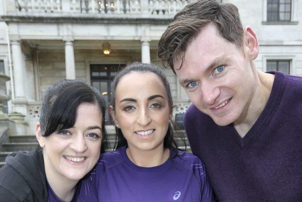 Pictured at a Press Reception to launch of The 2015 Womens Mini Marathon at The Radisson Blu Hotel, Stillorgan Rd yesterday were Comedian Maeve Higgins, DJ, Louise Heraghty, Athlete David Gillick.