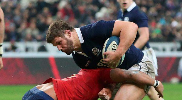 Ross Ford of Scotland is tackled during the RBS Six Nations match between France and Scotland at Stade de France on February 7, 2015 in Paris