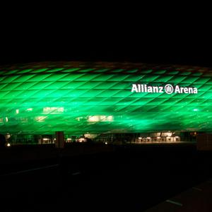 The Allianz Arena, home to Bayern Munich, illuminated in green as part of Tourism Ireland's Global Greening 2014.