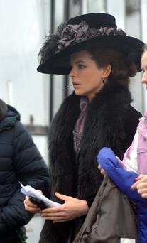 Actress Kate Beckinsale on the set of 'Love and Friendship' at Dublin Castle yesterday. Picture: JOHN DARDIS