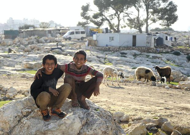 Mazara brothers near their home in Jabal al Baba, West Bank. Pic: Jim Campbell