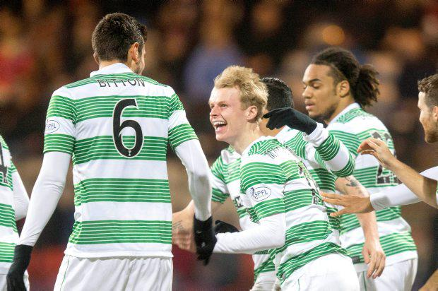 Celtic's Gary Mackay-Steven celebrates scoring his side's first goal of the game