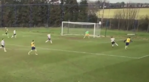 Brooklyn Beckham smashes a ball off the crossbar for Arsenal