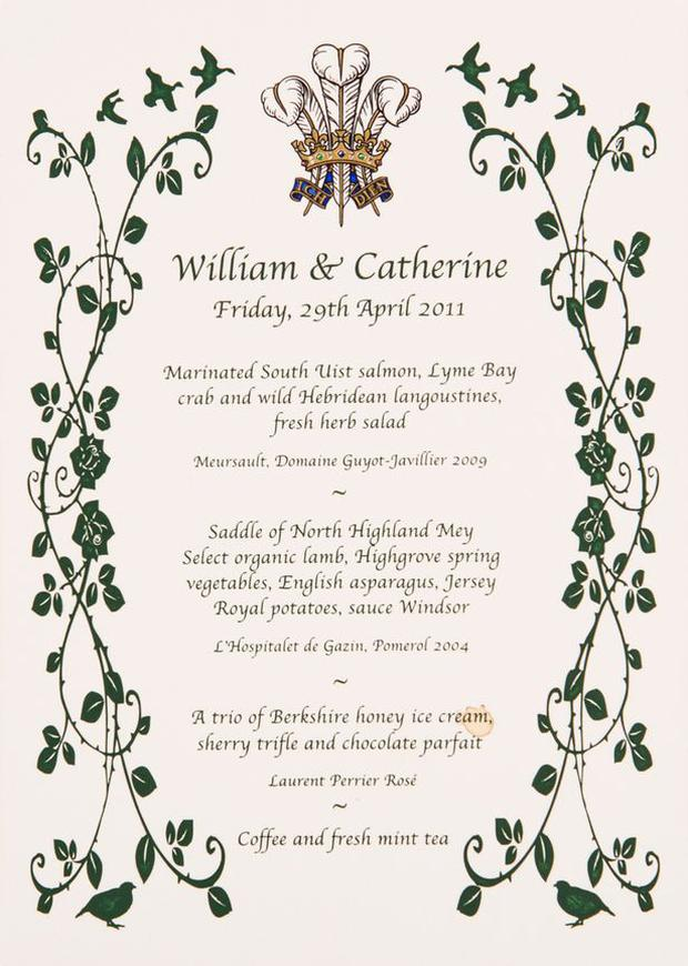 Prince William and Kate Middleton's wedding day menu has been revealed