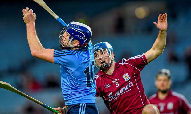 Conal Keaney, Dublin, in action against Johnny Coen, Galway
