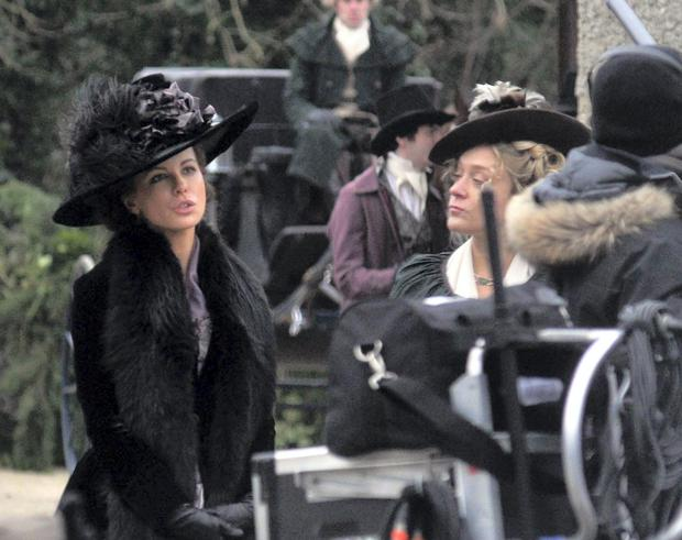 Actresses Kate Beckinsale and Chloe Sevigny on the set of