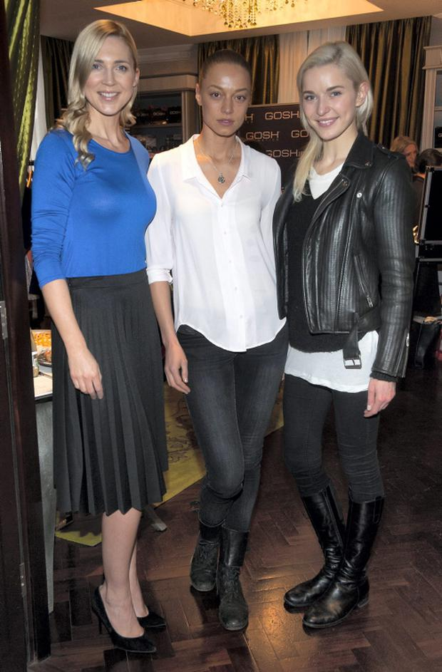 Sarah McGovern, Irma Mali and Teodora Sutra pictured at the Spring/Summer showcase for Saphir Perfume, Iclothing and Gosh cosmetics at the Dylan Hotel. Pic Patrick O'Leary