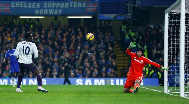 Petc Cech of Chelsea saves a shot from Romelu Lukaku of Everton during their English Premier League soccer match at Stamford Bridge