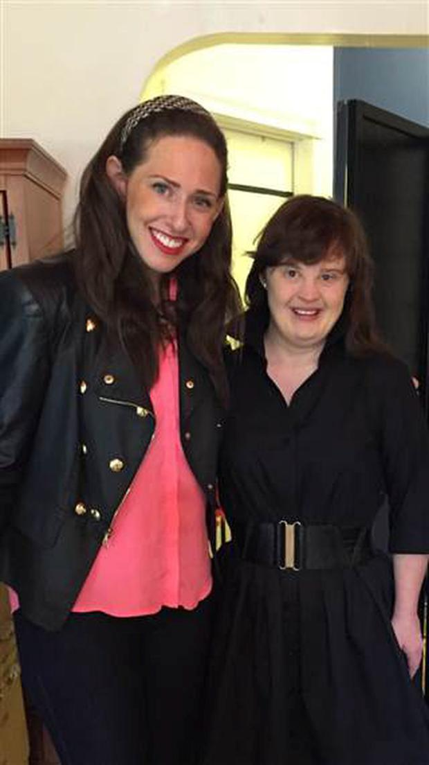 Carrie Hammer, the designer of the collection, with model and actress Jamie Brewer (Twitter @MsJamieBrewer)