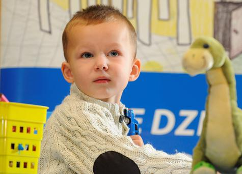 Toddler Adam, 2 years 6 months, pends his 74 day treatment in University Children's Hospital, in Krakow, Poland. (AP Photo/Alik Keplicz)