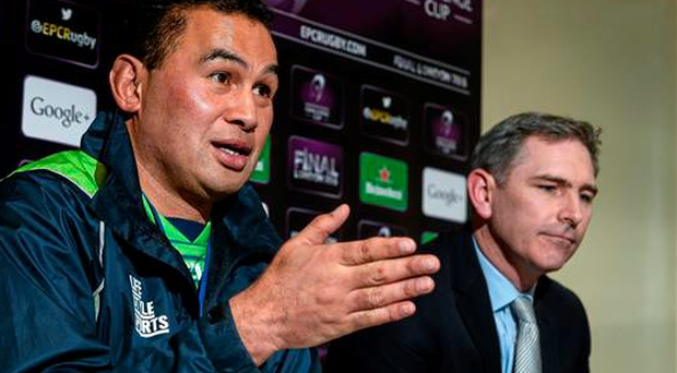 Connacht head coach Pat Lam, left, and CEO Willie Ruane during a press conference. Lam has thrown down the gauntlet to his men and said that every game from here to the end of the season is now a cup final (Sportsfile)
